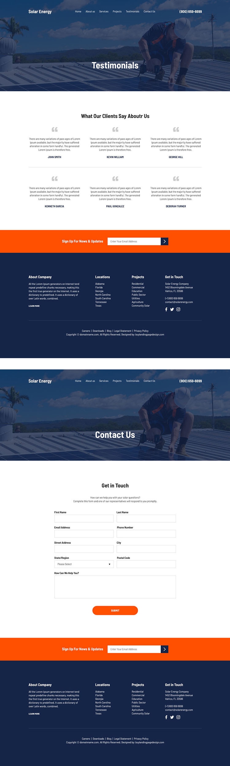 solar energy solutions free quote lead capturing website design