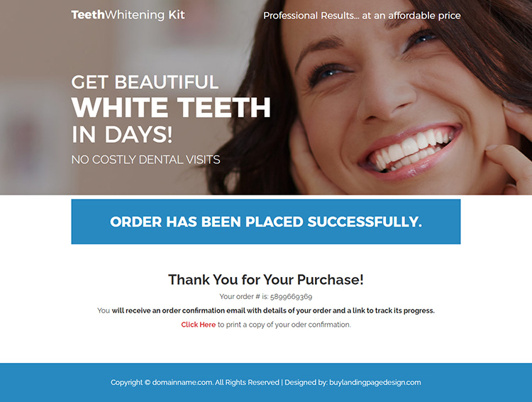 teeth whitening kit responsive landing page design