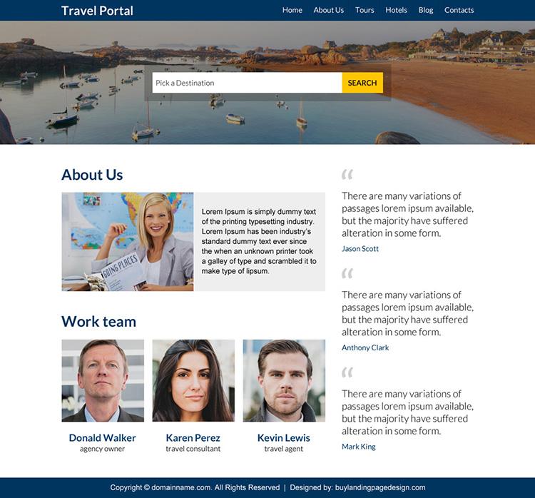 minimal travel portal responsive website design