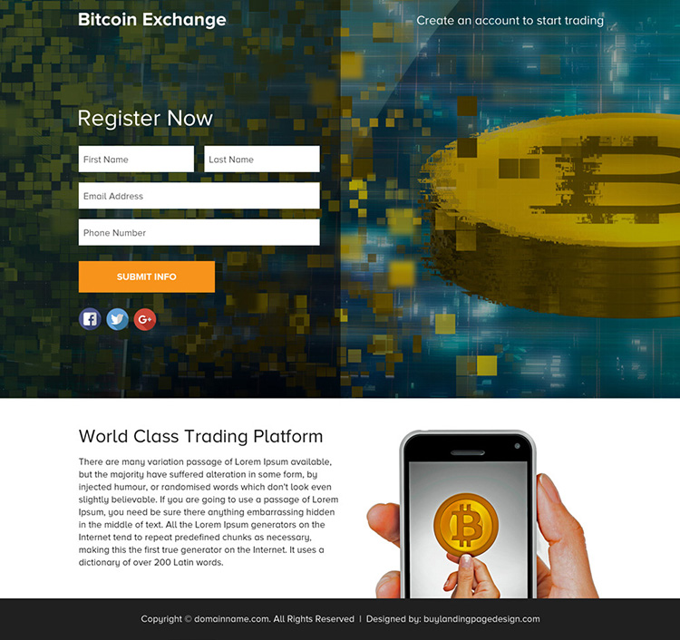 bitcoin exchange sign up capturing funnel page design