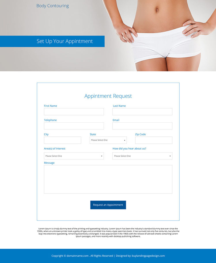 body contouring cosmetic surgery responsive landing page