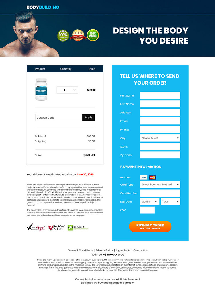 bodybuilding supplement responsive landing page design