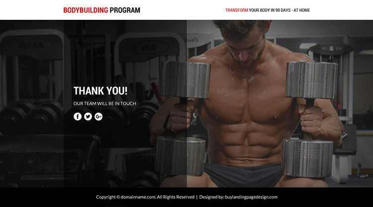 bodybuilding program lead funnel landing page design