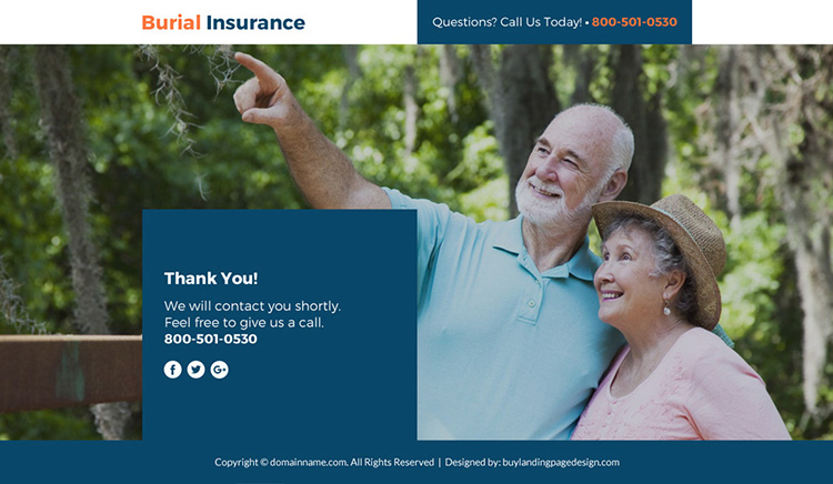 burial insurance lead funnel responsive landing page design