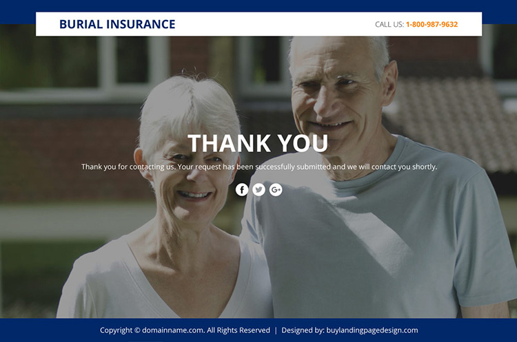 burial insurance sales funnel responsive landing page design