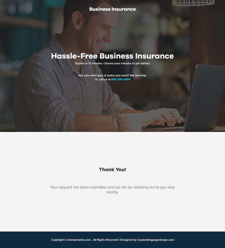 best business insurance responsive landing page design