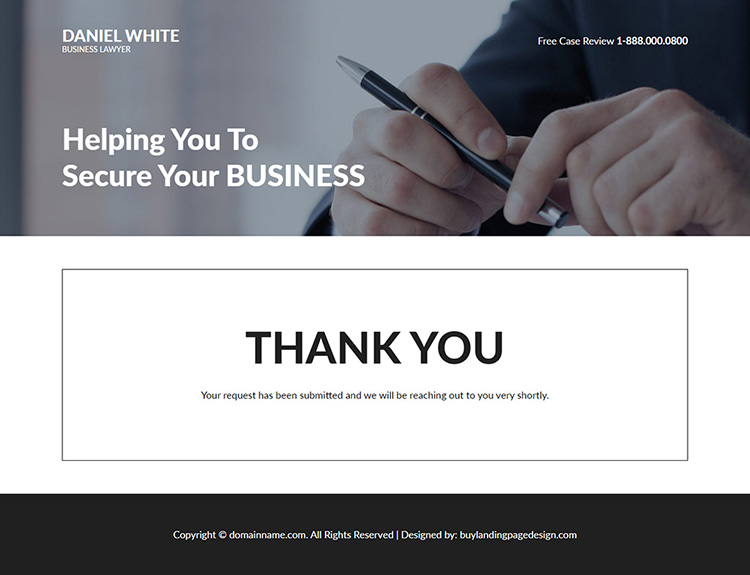 business lawyer lead capture responsive landing page design