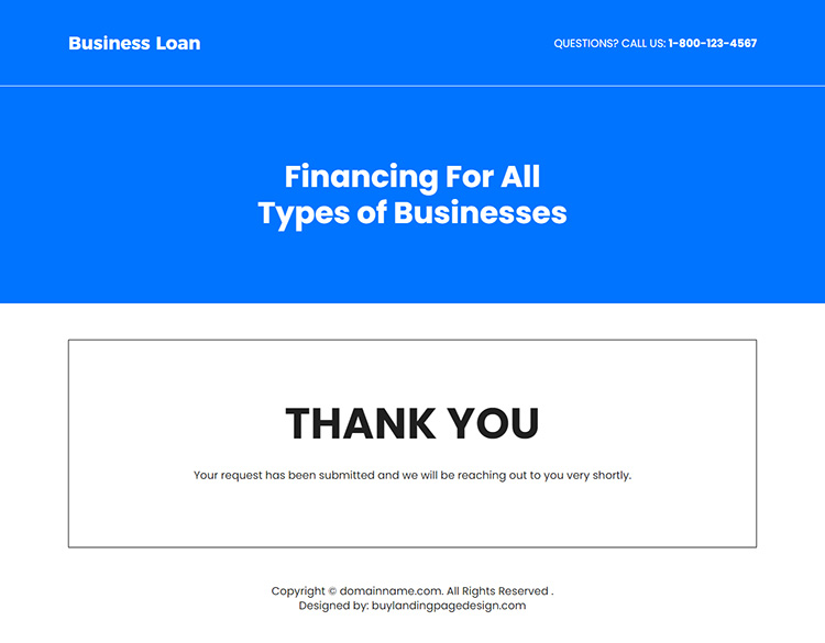 instant business funding for all types of business landing page