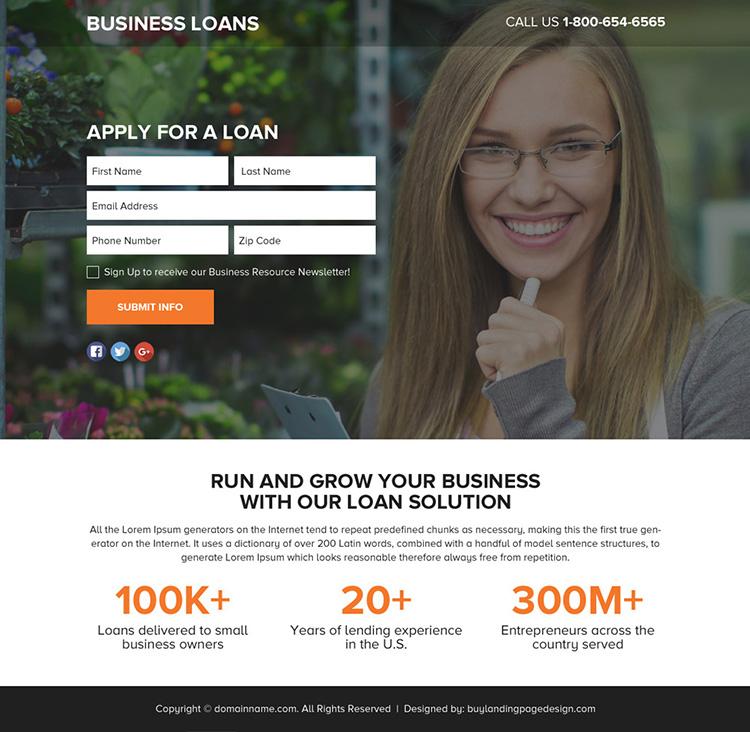 business loan solution lead funnel landing page design