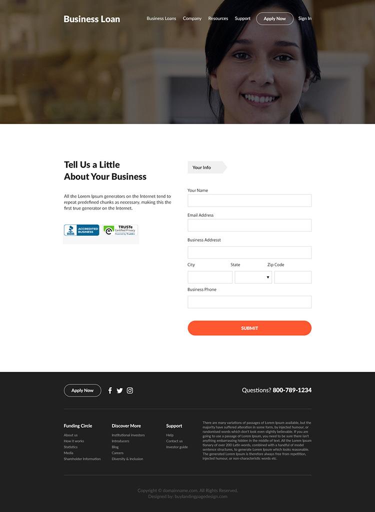 business loan online application responsive website design