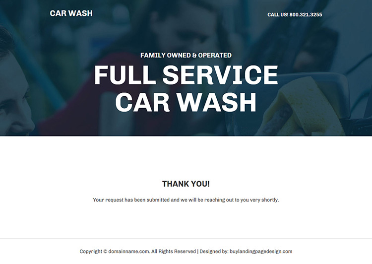 car cleaning service center responsive landing page design