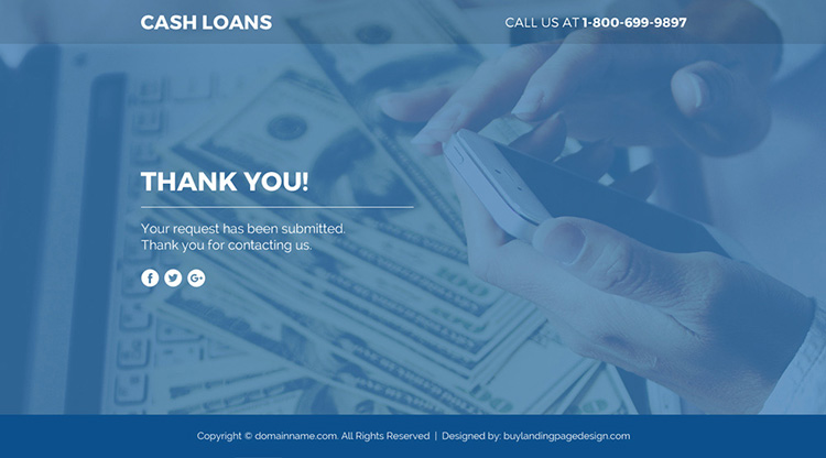 cash loan lead funnel responsive landing page design