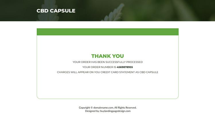 cbd capsules pain relief responsive landing page design