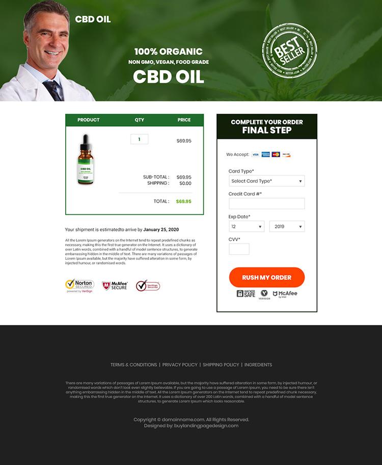CBD oil pain relief product responsive landing page design