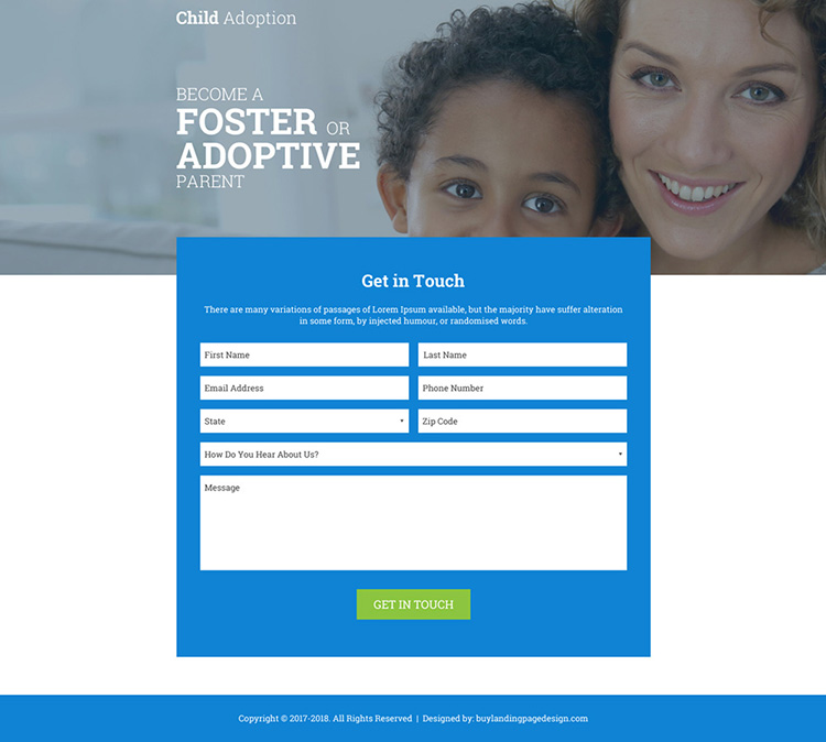 Child Adoption Agency Online Lp 003 Adoption Landing
