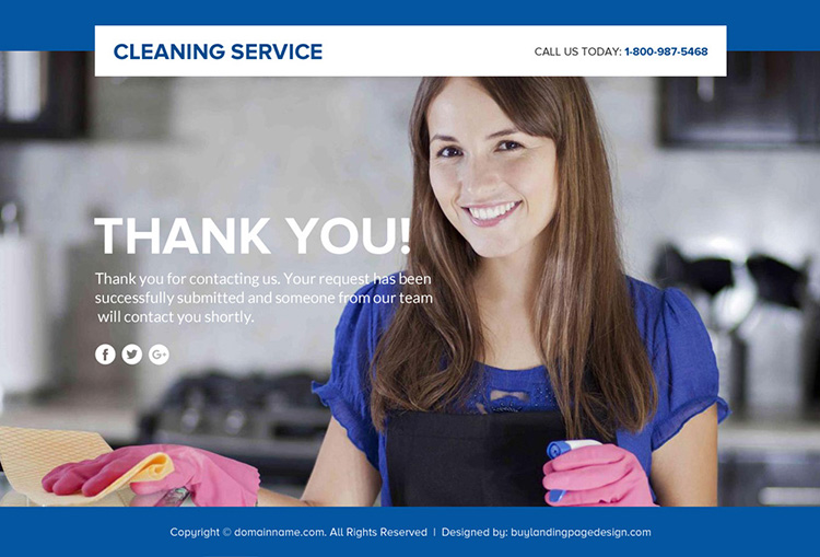 cleaning service lead funnel responsive landing page design