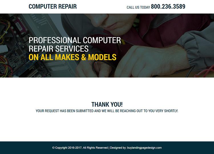 responsive computer repair service landing page design