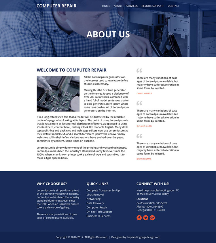 computer repair services html website design template