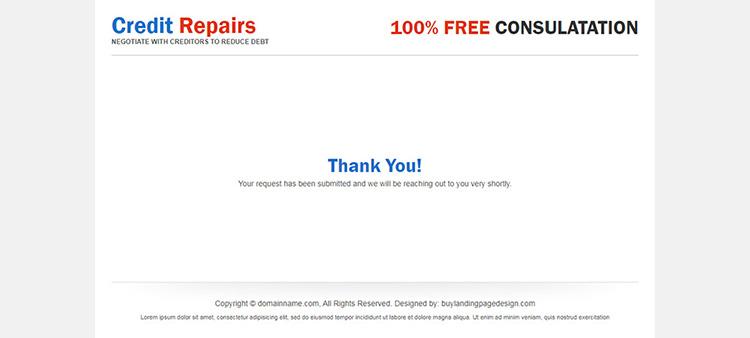 break free your credit score chains 2 column responsive landing page design