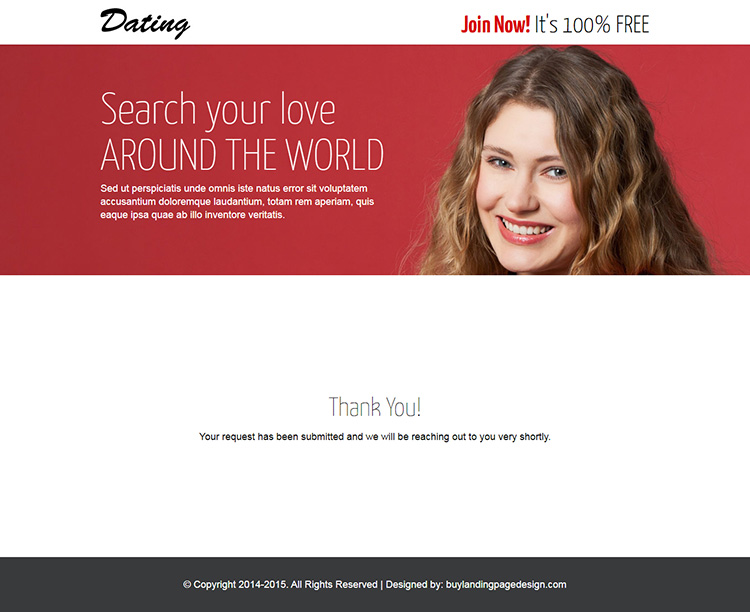 converting dating lead generating responsive landing page design