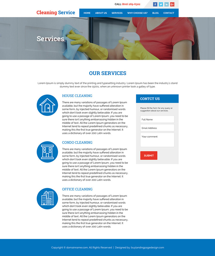 cleaning services minimal website design