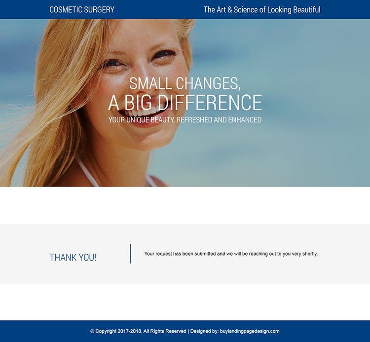 responsive cosmetic plastic surgery landing page design