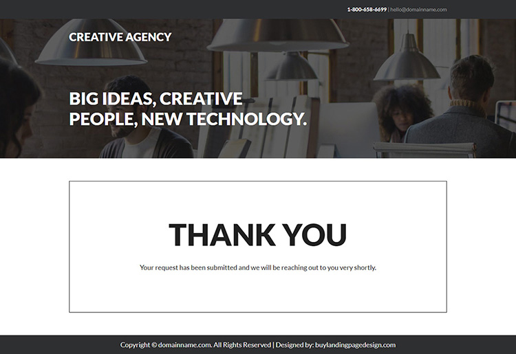 creative web design agency responsive landing page