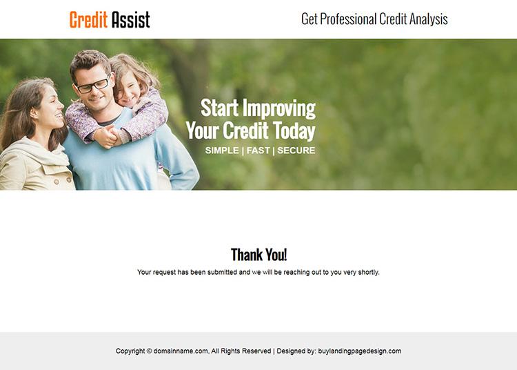 credit assist service small lead capture responsive landing page design