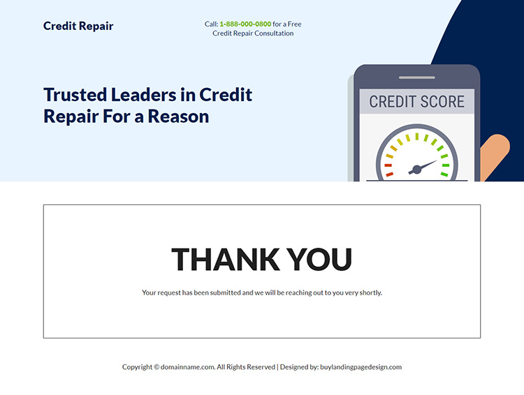 credit repair consultation best landing page design