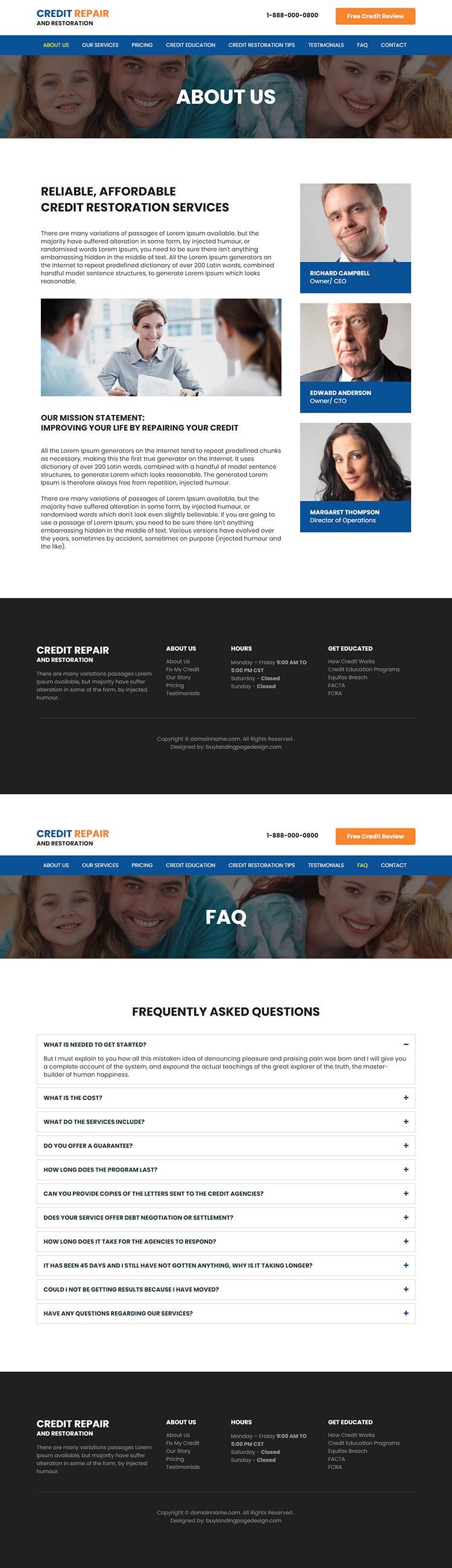 credit repair and restoration service responsive website design