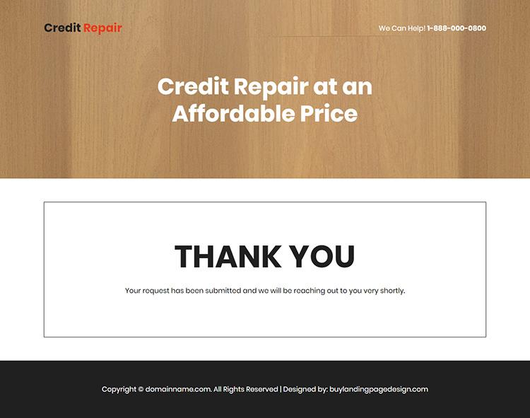credit repair agency lead capture responsive landing page design