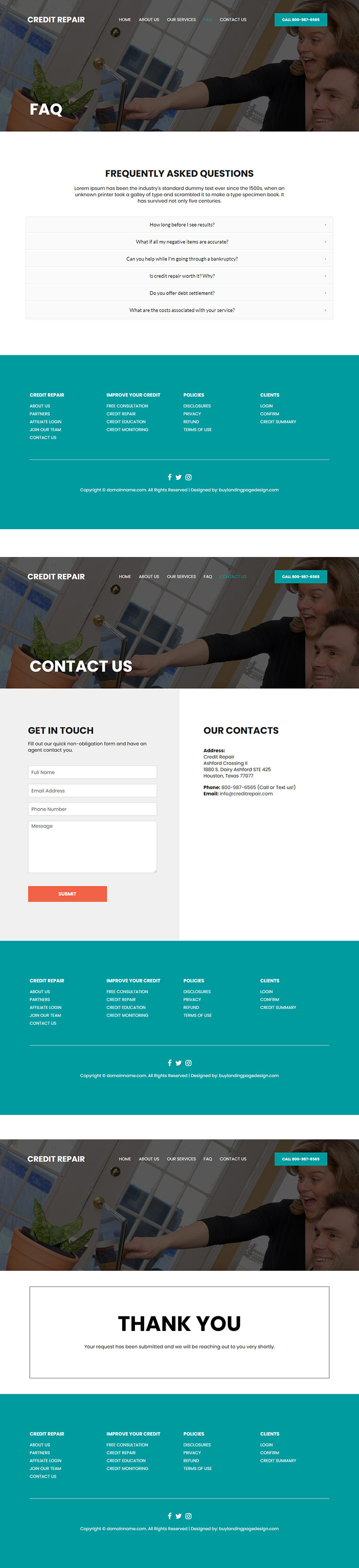 credit repair and monitoring service website design