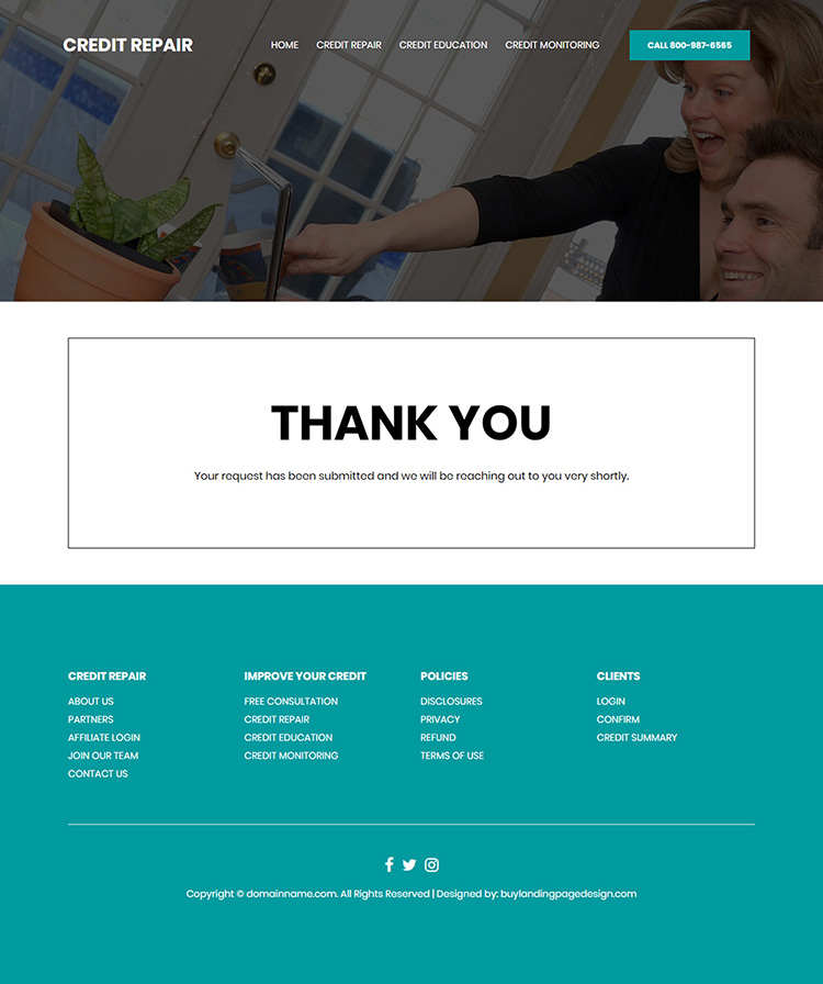credit repair and monitoring service website design