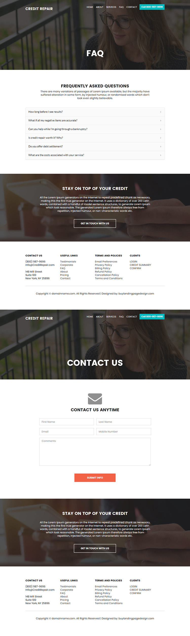 credit repair company free consultation lead capturing landing page