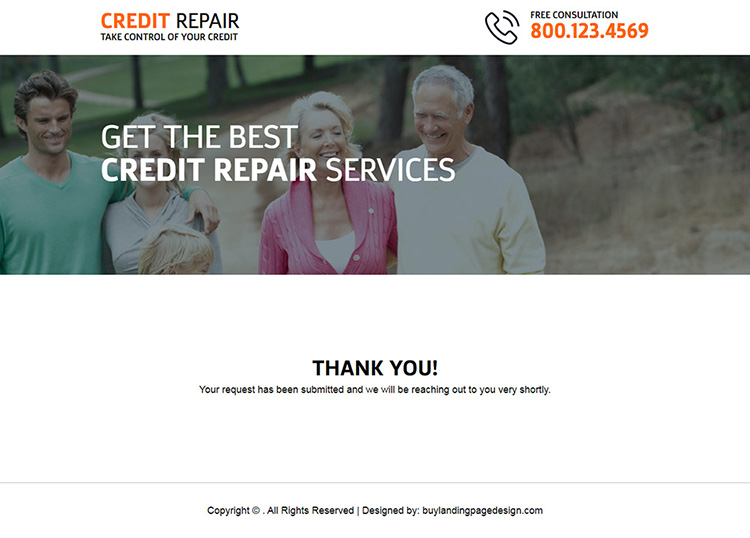 responsive credit repair consultation lead generating landing page