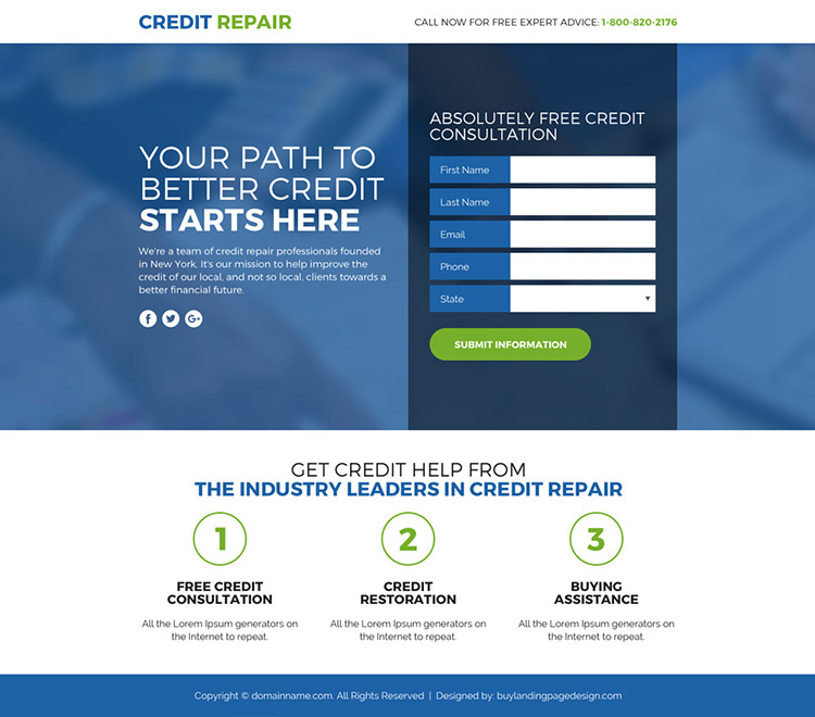 credit repair lead funnel landing page design
