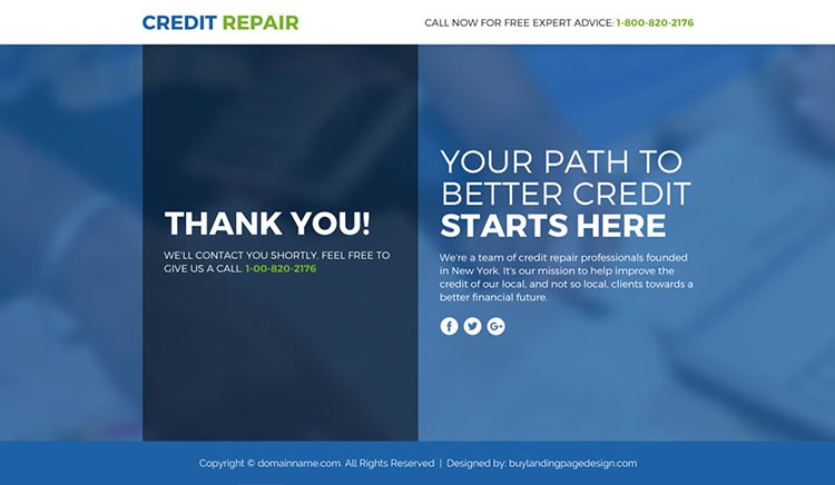credit repair lead funnel responsive landing page design