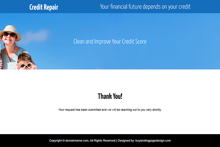 credit repair lead gen responsive video landing page design