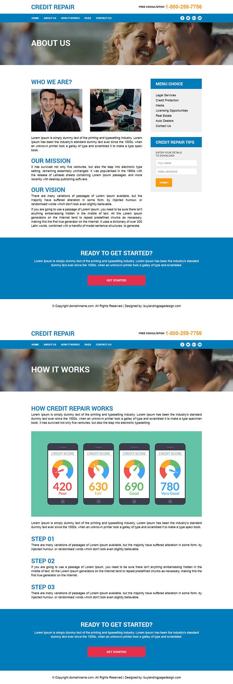 credit repair responsive html website design