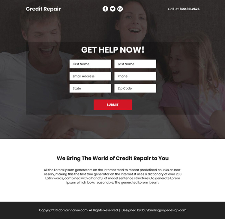 bad credit repair video responsive funnel page design