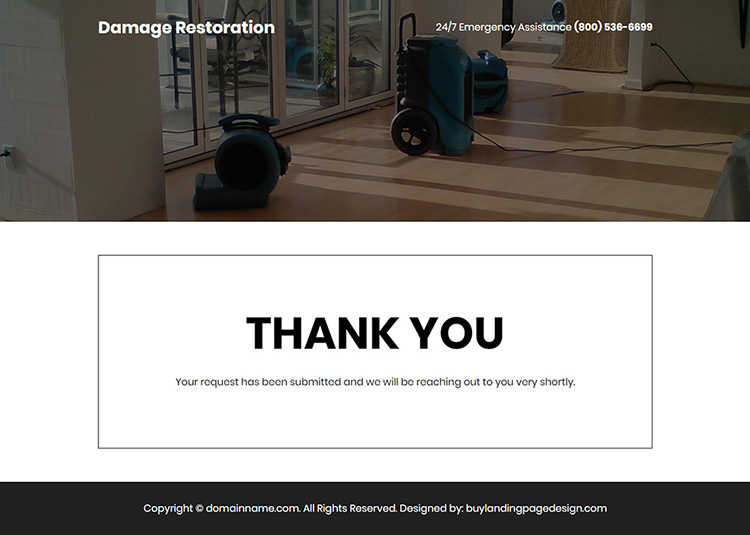 residential and commercial damage restoration services responsive landing page