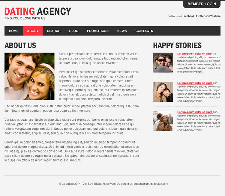 appealing dating agency html website template to capture positive leads