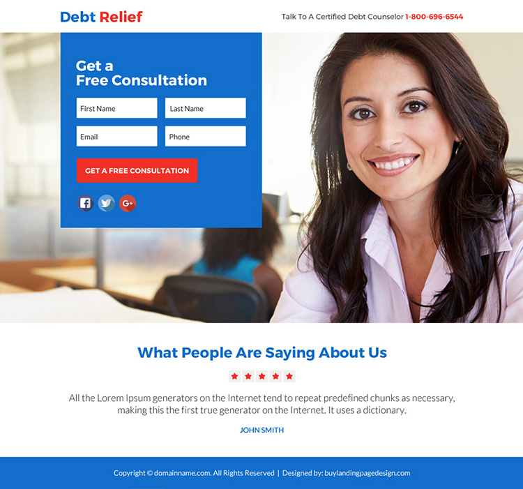 debt relief solution free consultation lead funnel responsive landing page