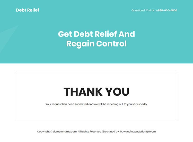 debt consolidation service responsive landing page design