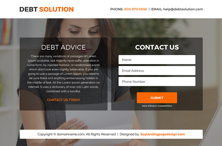 debt solution marketing funnel responsive landing page