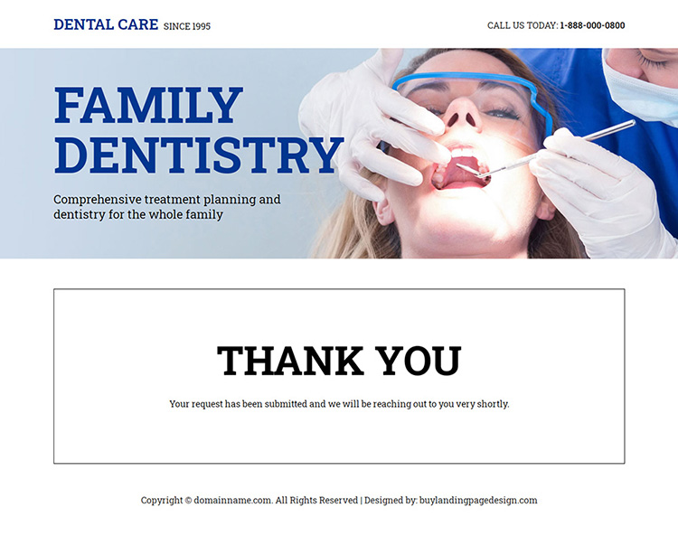 family dental clinic responsive landing page design