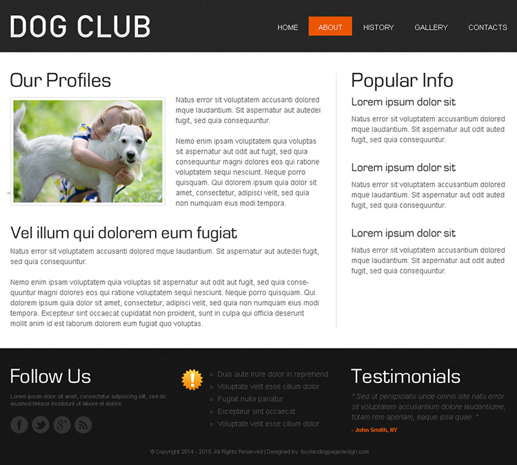dog club attractive and effective html website template design