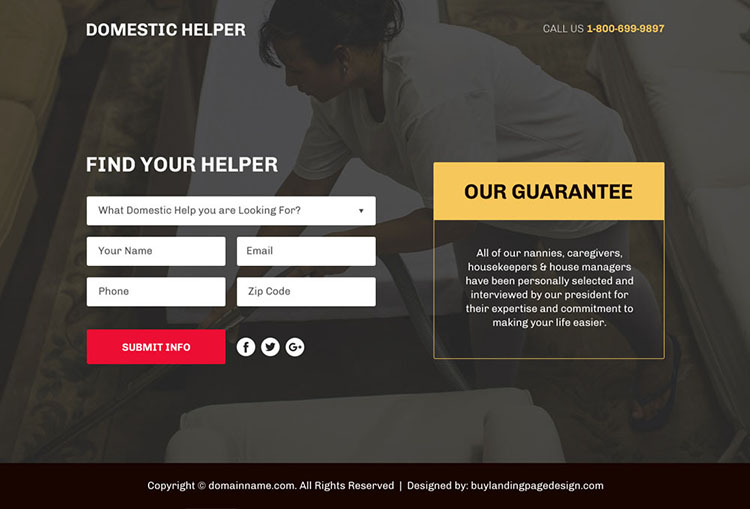 domestic help service lead funnel responsive landing page