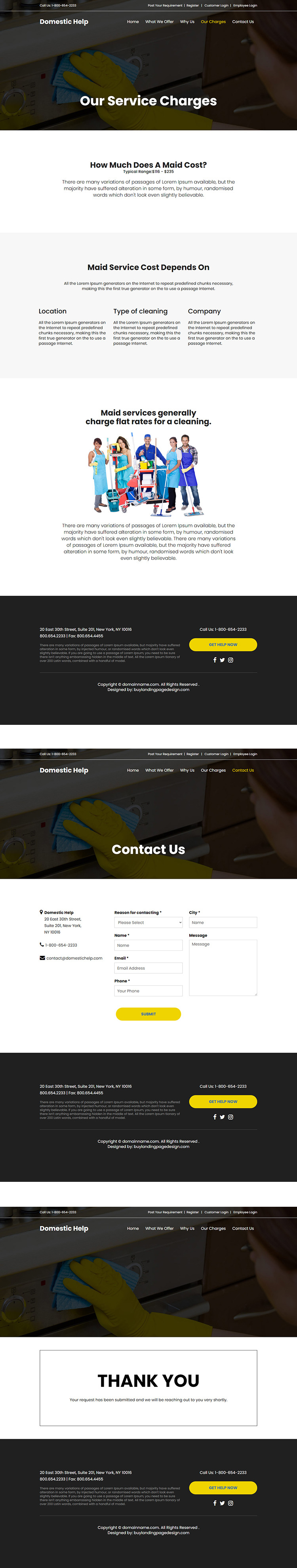 domestic helper service responsive website design