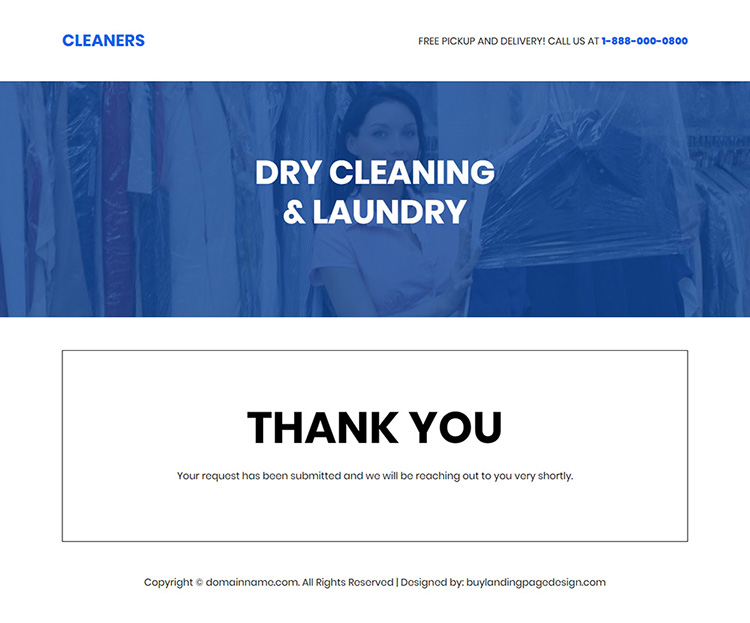 dry cleaning and laundry services responsive landing page design